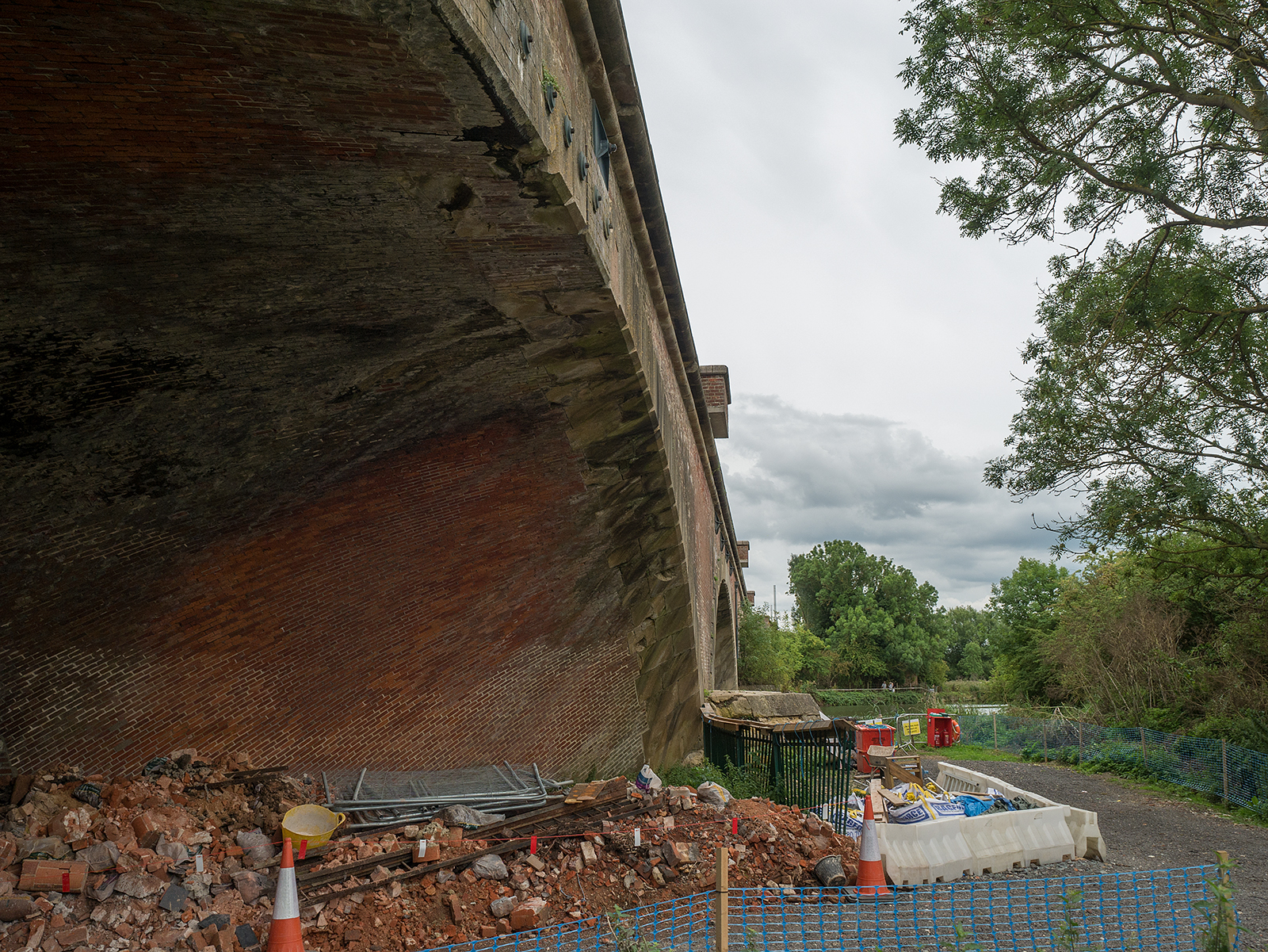 Repairing the brickwork at the railway bridge