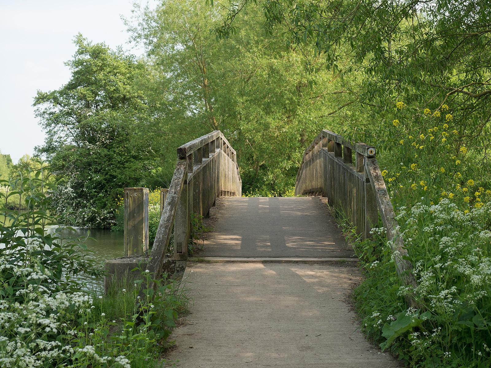 Wooden bridge onto the ait