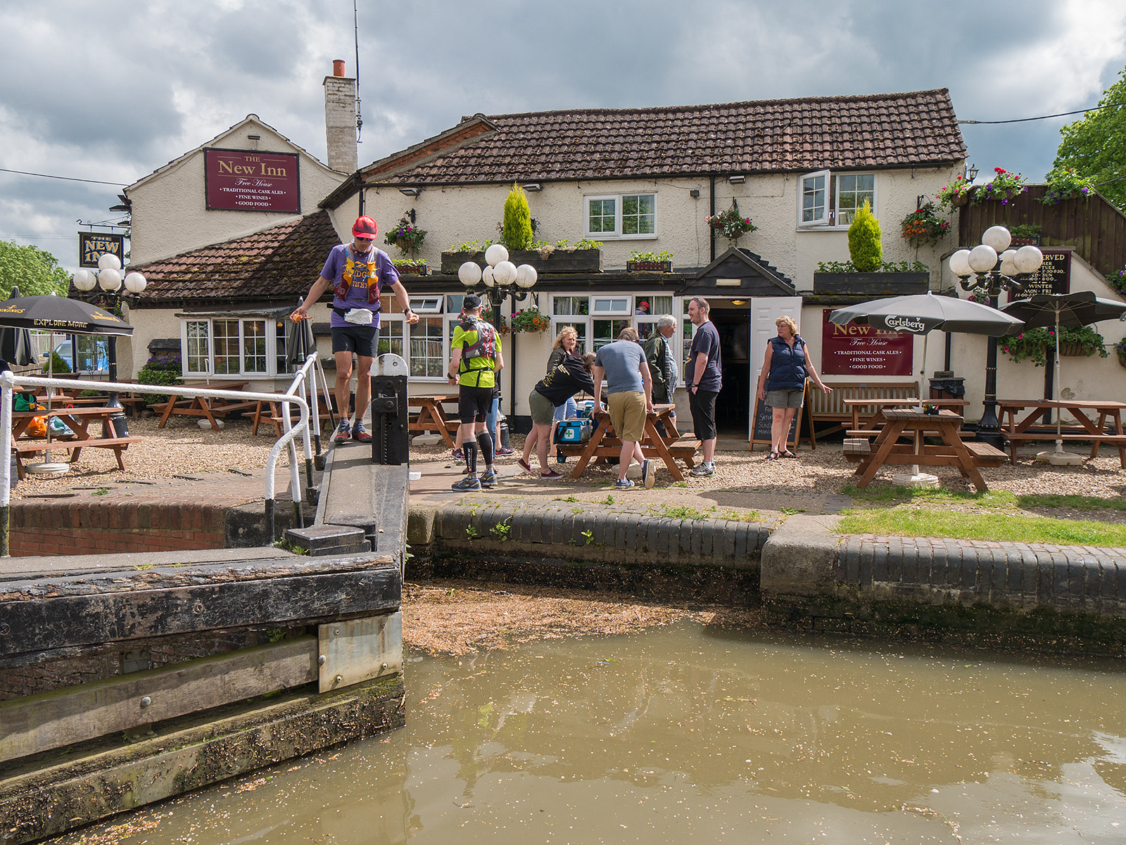 Runners from the Grand Union 145 mile race at the New Inn pub at Long Buckby