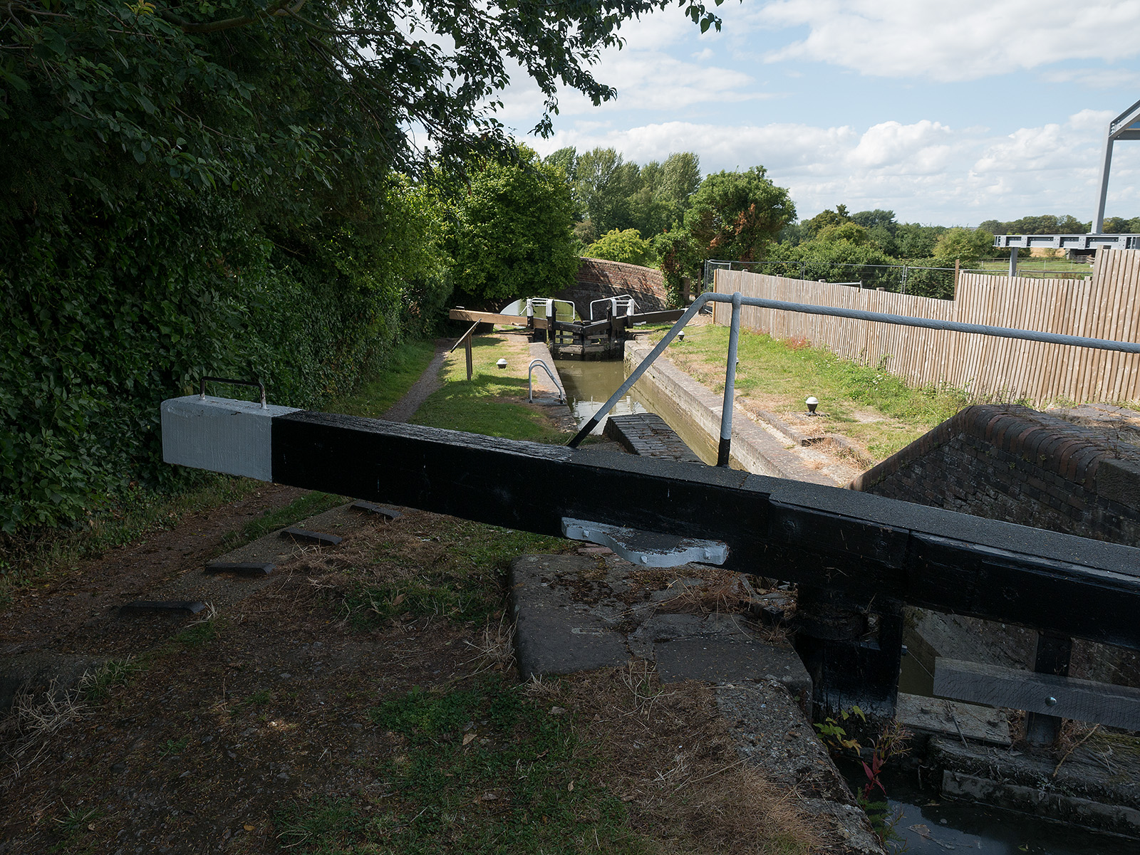 Marsworth no 1 and 2 locks on the initial entry to the Aylesbury branch - note the narrowness of the lock and the gates