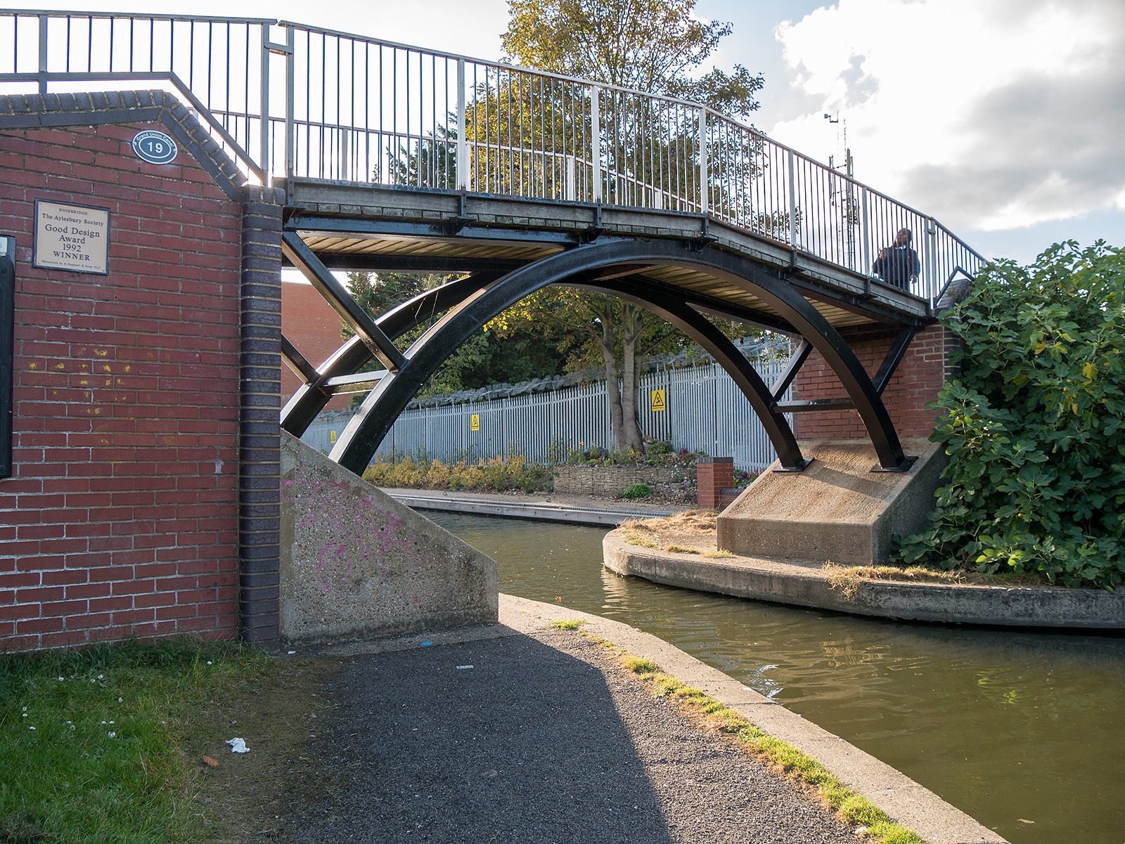 Award winning bridge on the approach to Aylesbury.