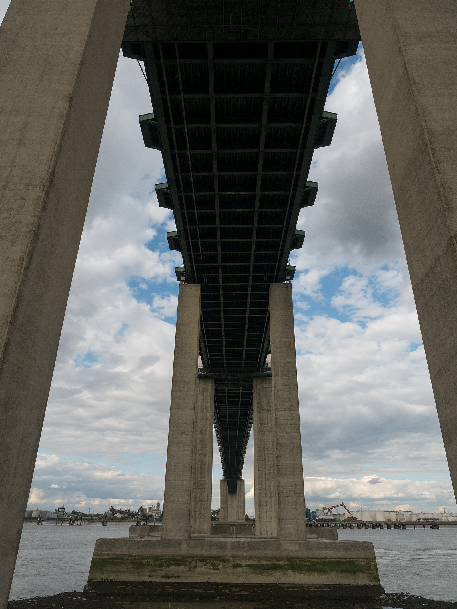 Directly under the QE2 bridge