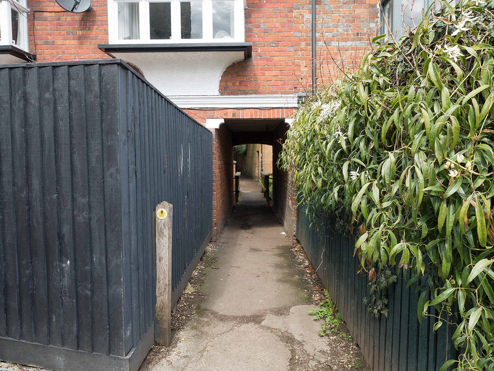 The path actually continues through a passageway between the houses - did not spot it last year - needed the guidebook!