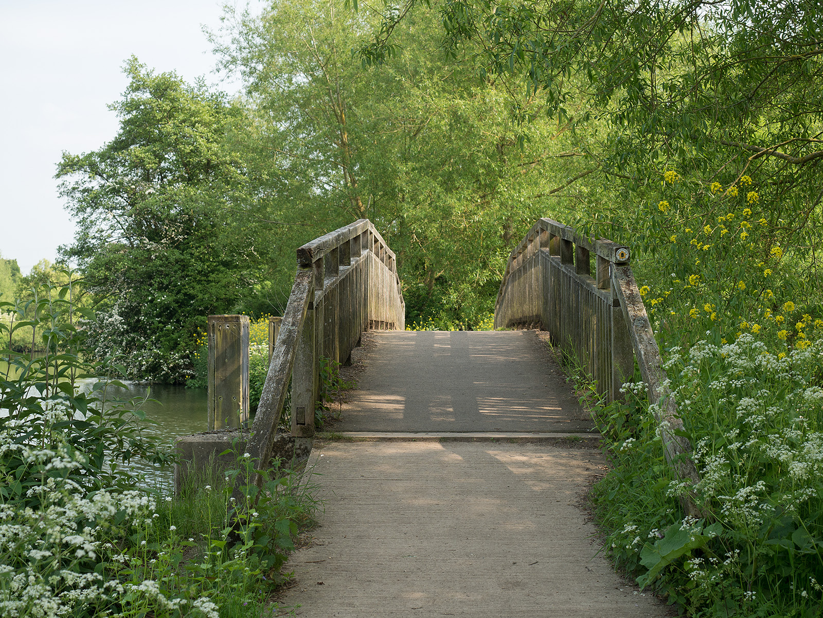 Wooden bridge onto the ait