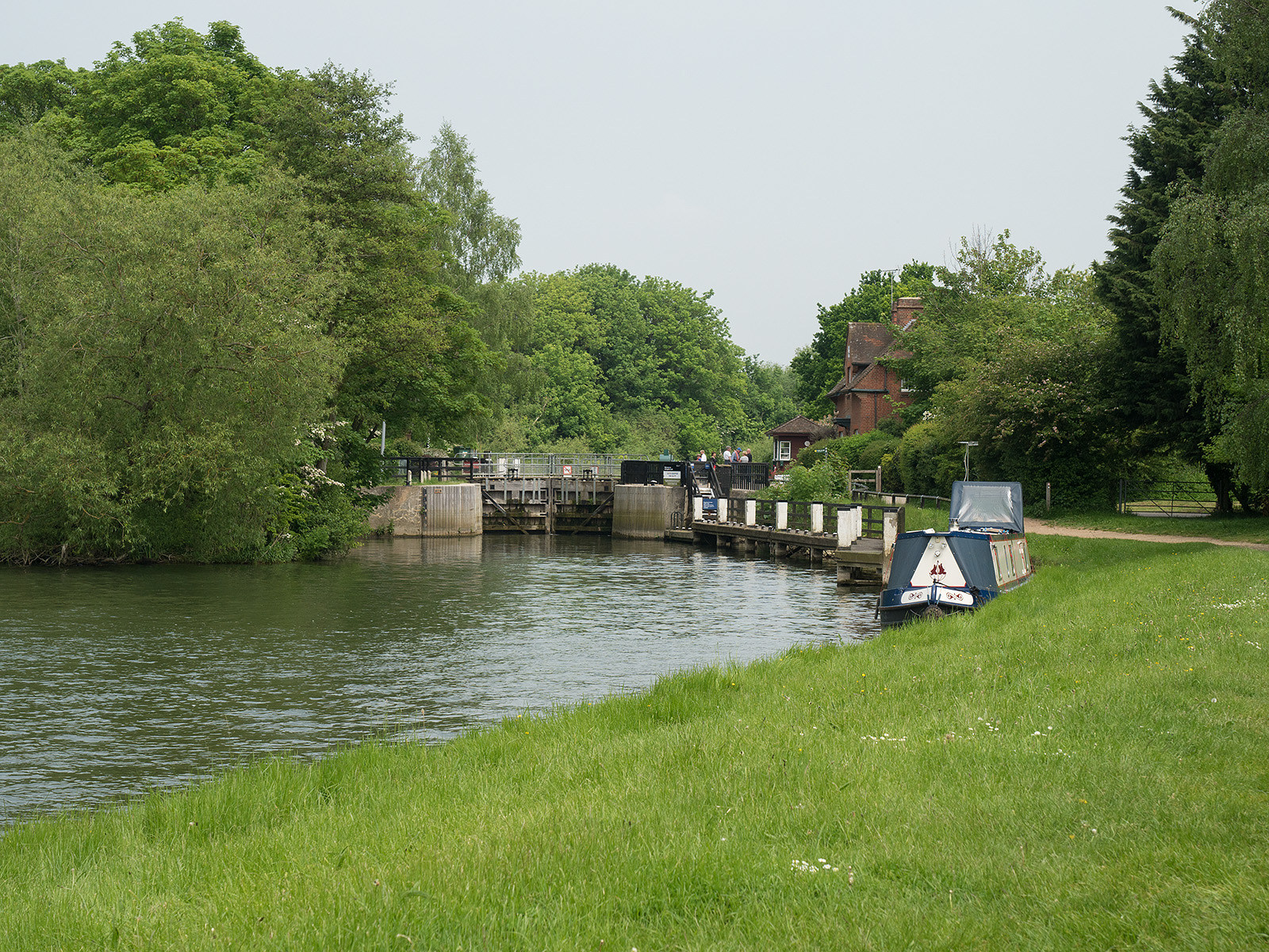 Approaching Abingdon lock, where the path crosses to the opposite bank
