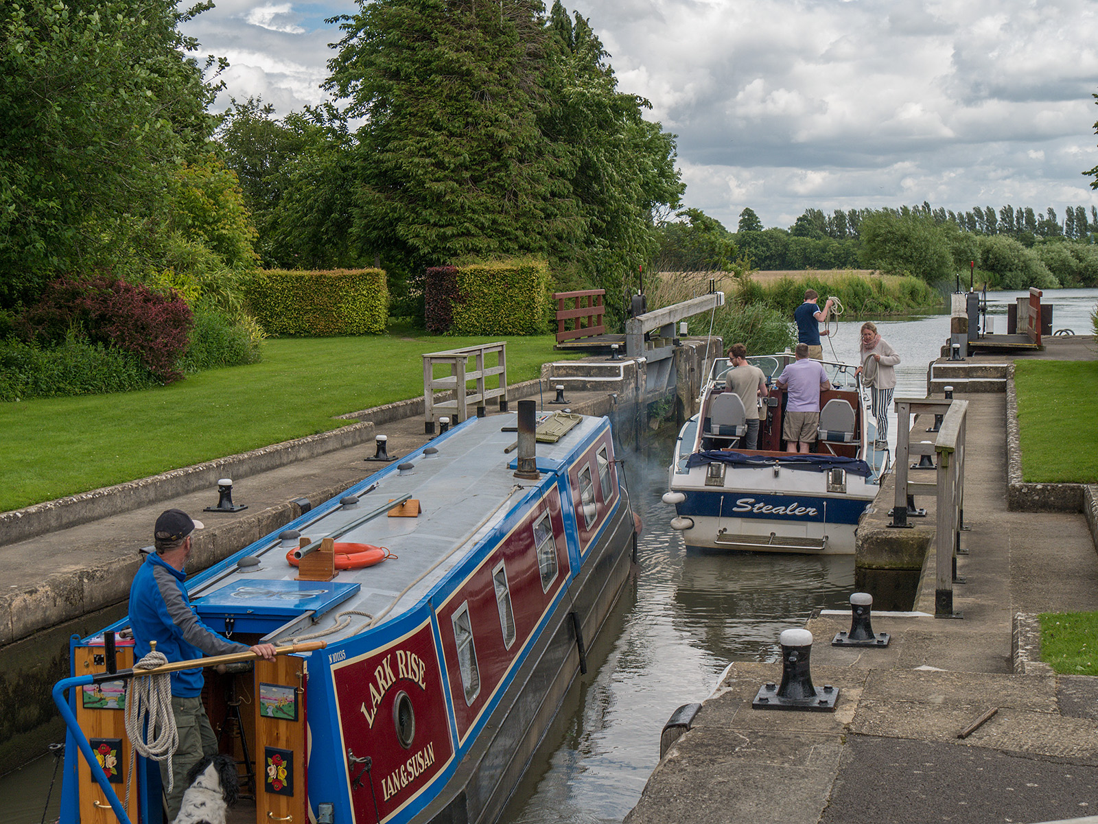 Looking back as boaters exit King's Lock