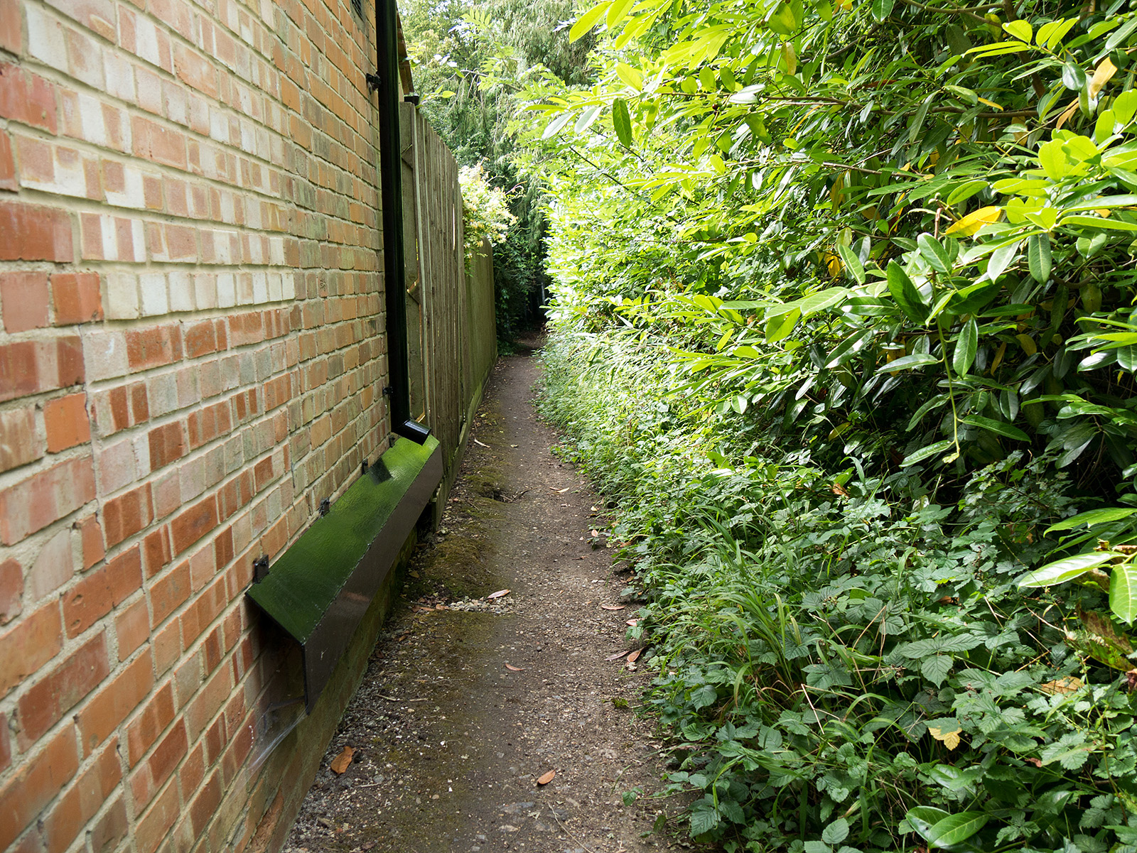 The path from the road back to the river passes between two properties