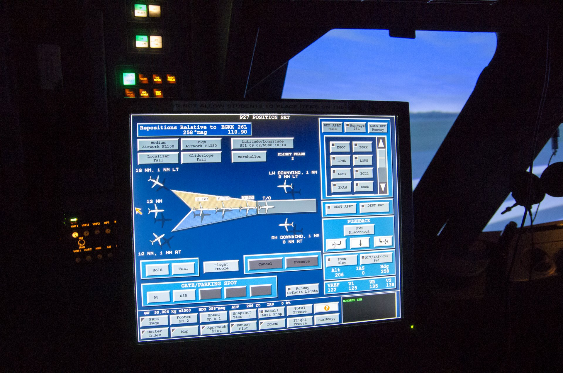 Simulator control panel from the instructor station