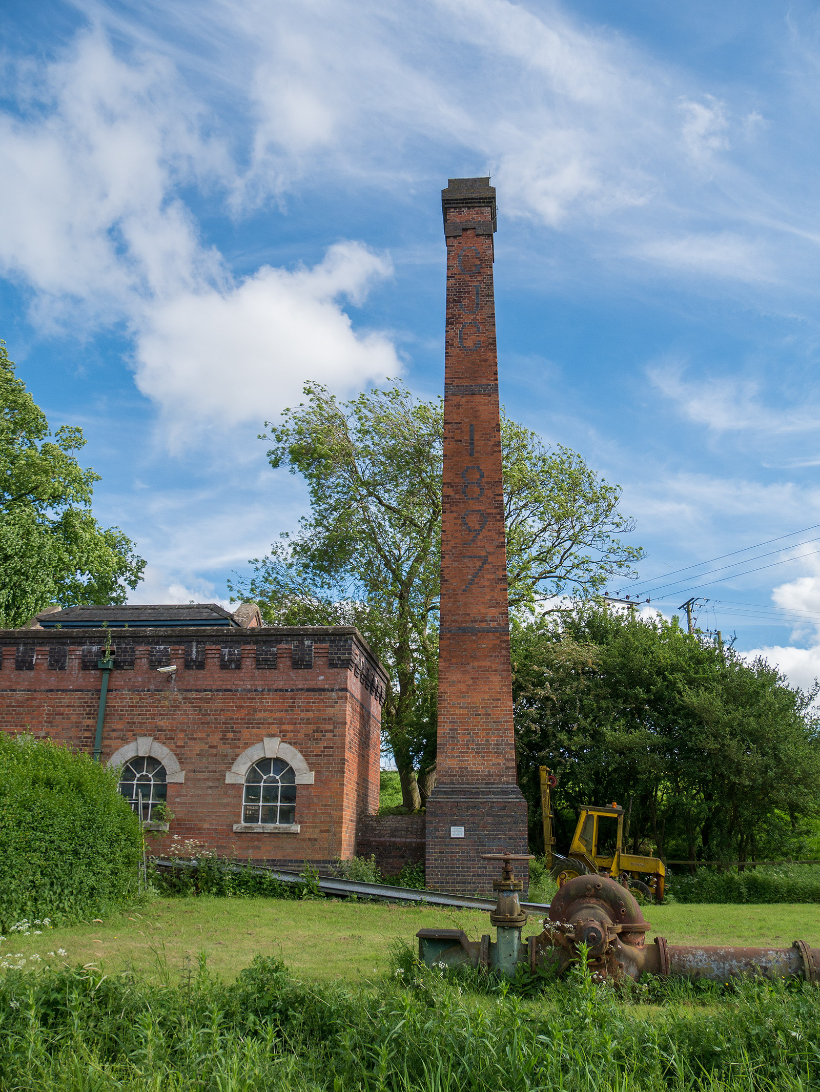 1897 chimney hints at the industrial heritage of this area