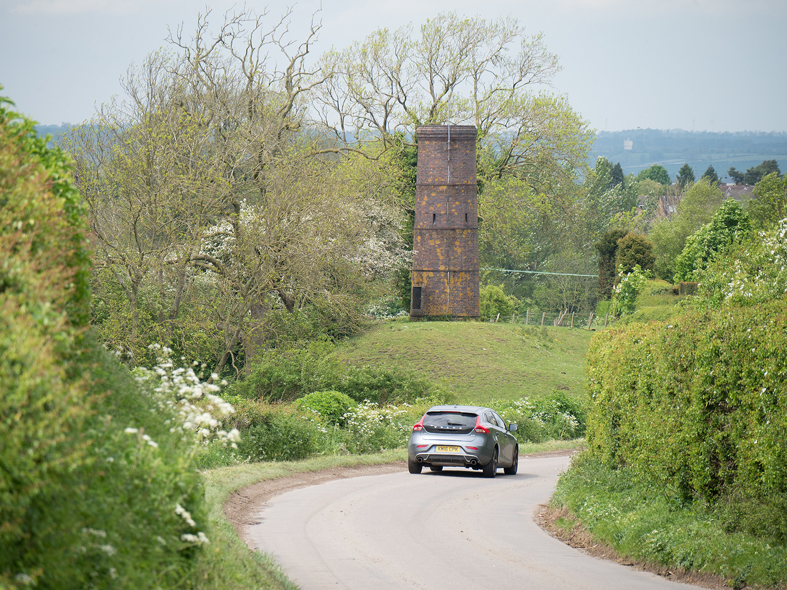 Tower above an air shaft shows that the end of the walk along the roadway is approaching